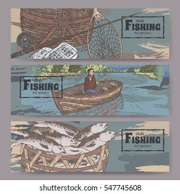 Three color landscape banners with fishing related sketches. Features fishing gear, fisherman in boat, fish in basket. Vector Illustration.