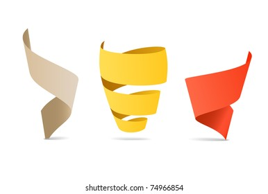 Three color origami spiral ribbons. Place your text here