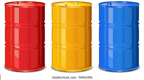 Three color steel barrels on white background, vector illustration