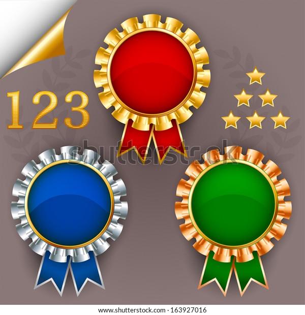 Three Color Vector Award Ribbon Badges Stock Vector (Royalty