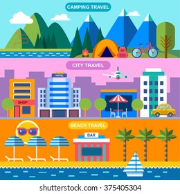 three color  vector banners for summer travel
