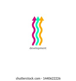 Three color wavy up arrows, business development icon, logo element, teamwork growth. Vector flat isolated