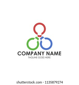 Three colored abstract ring company logo vector template