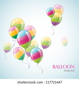 Three colored balloon isolated on background. Vector illustration