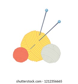 Three colored cartoon balls of yarn with knitting needles. Elements are easy to move. Vector illustration.Cartoon style