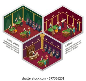 Three colored casino isometric interior compositions with card games and casino descriptions vector illustration