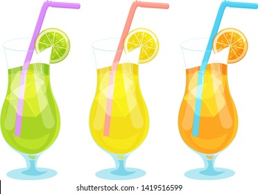 Three colored cocktail glasses with drinking straw and fresh fruits