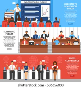 Three colored conference presentation banner set with scientific forum press conference and welcome to innovation forum descriptions vector illustration