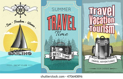 Three colored expeditions vertical banner set with summer travel time travel vacation tourism descriptions vector illustration