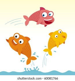 Three colored fish jumping in the water