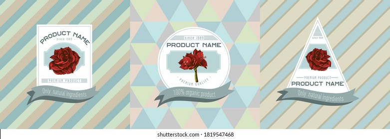 Three colored labels with illustration of amaryllis