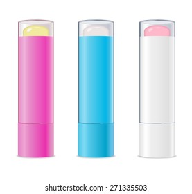 Three colored lip balms isolated on white. Vector