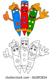 Three colored pencils smiling like a coloring book for little kids - vector