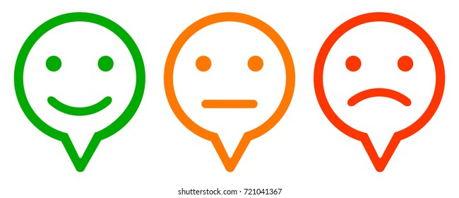 Three colored smilies, set smiley emotion, by smilies, cartoon emoticons - stock vector