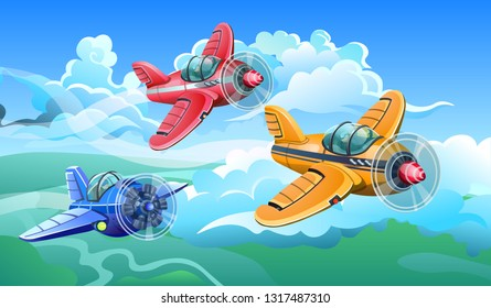Three colorful aircrafts fly in the sky among the clouds. Vector illustration.
