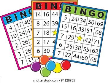 Three colorful bingo cards.