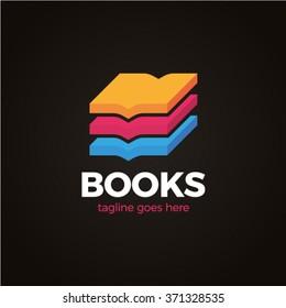 Three Colorful Book Logo 3d