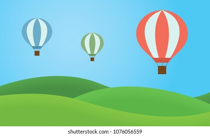 Three colorful hot air balloons flying over the landscape with grassy hills and blue sky - vector, simple flat design