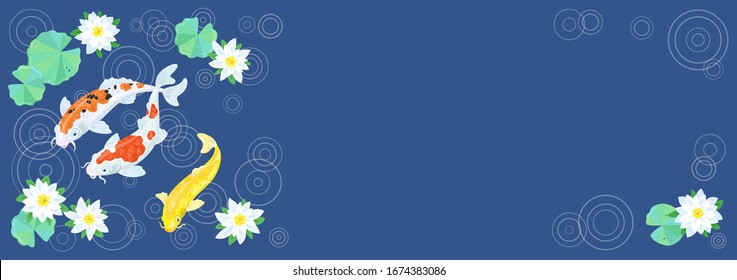 Three colorful Japanese koi carp swim in the flowering pond during the rain. Banner on a classic blue background with place for your text. Vector illustration.