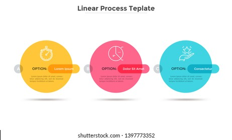 Three colorful round elements placed in horizontal row. Concept of business plan with 3 successive stages. Simple infographic design template. Modern vector illustration for report, progress bar.