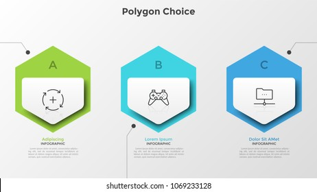 Three colorful separate hexagons with linear symbols inside and text boxes. Concept of 3 successive steps of development process. Creative infographic design template. Vector illustration for report.