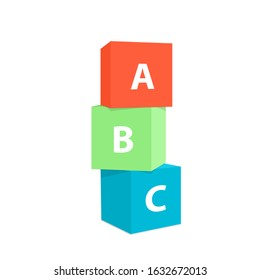 Three colorful stacked children alphabet cubes vector Illustration