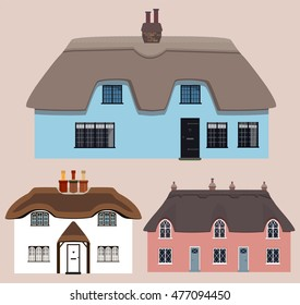 Three colorful thatched old English cottages. Vector illustration.
