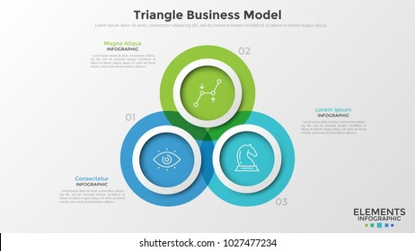 Three colorful translucent overlapping circles with thin line pictograms inside and text boxes. Concept of triangle business model with 3 options. Infographic design template. Vector illustration.