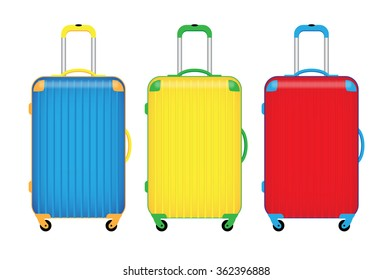three colorful travel luggage isolate on white background vector illustrations