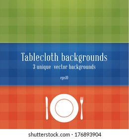 Three colorfully tablecloth backgrounds.