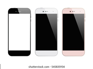 Three colors smartphones isolated on white background. Mobile phone with blank screen. Cell phone mock up design. Vector illustration.