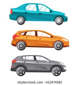 Three coloured separated vector cars. Sedan, universal, crossover. Illustration for infografics.
