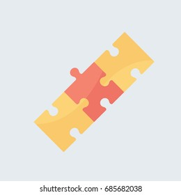 three complete puzzle pieces beautiful modern cartoon clean game connection vector isolated for technology or finance icon on flat design style isolated on light gray background