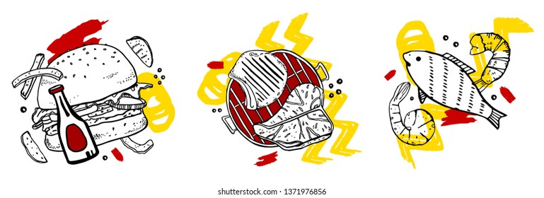 Three compositions with grilled food and colorful spots. Outline vector hand drawn sketch illustration - burger and potatoes, grill, fish and shrimps on white background