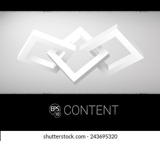 Three Connected 3D Shapes Vector Composition For Your Design