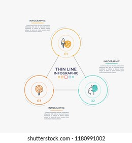 Three connected round elements with thin line icons and numbers inside, text boxes. Closed cyclic business process with 3 steps. Simple infographic design template. Vector illustration for brochure.