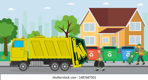 Three containers with trash.Urban waste recycling. Garbage truck and garbage man collectors. Separate garbage collection. Cartoon male worker.Urban view on background.Flat vector illustration