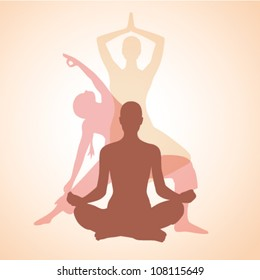 three contours of women in the yoga poses on a beige background