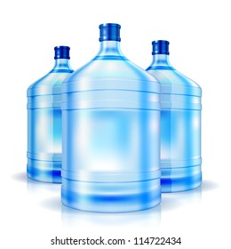 Three cooler isolated bottles of water. Vector illustration