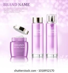 Three cosmetic bottles. Cream, toner and perfume. Realistic creative vector illustration