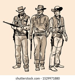 Three cowboys with guns. Men with cowboy hats and rifle. Western Gunfighters. Digital sketch hand drawing vector. Illustration.