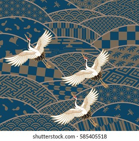 Three cranes and multiple patterned Japanese traditional pattern