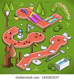 Three crazy golf lanes with obstacles such as stone slabs, ants, ramps and bridges (isometric view illustration)