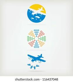Three creative logo for skydivers