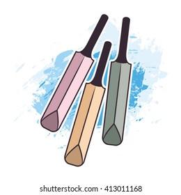 three cricket bats over blue paint stroke