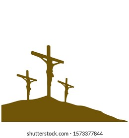 Three cross on mountain silhouette vector illustration