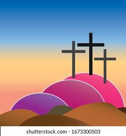 three crosses on golgotha on good friday