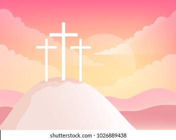 Three Crosses on Golgotha Mountain. Christian Easter Vector Illustration.