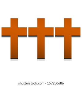 Three crosses with transparent knock-out.