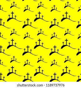 Three crucifix, christian cross on calvary or golgotha on yellow background for seamless wallpaper or any creative idea